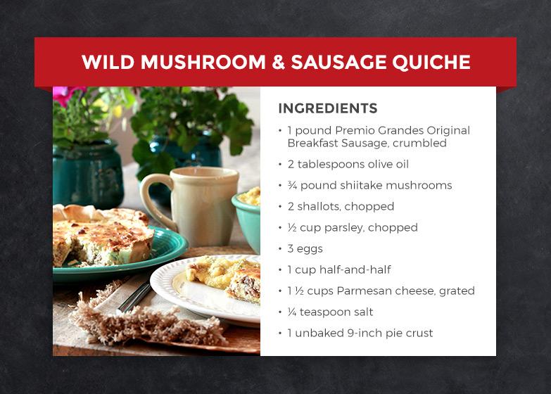 wild mushroom & sausage quiche