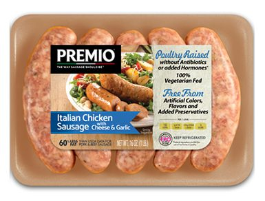 Premio Antibiotic Free Sweet Italian Chicken Sausage with Cheese & Garlic