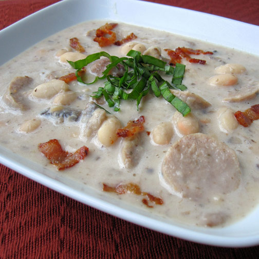 Creamy Sausage, Mushroom and White Bean Soup