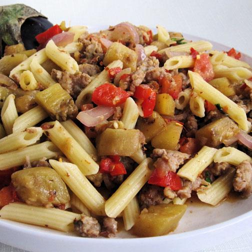 Sausage and Eggplant Pasta