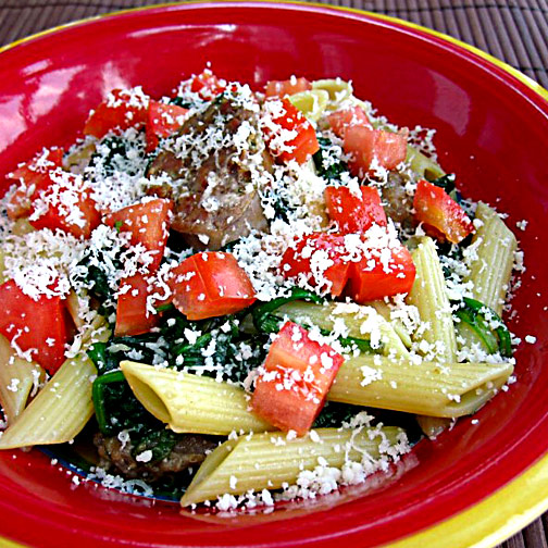 Sweet Basil and Spinach Penne