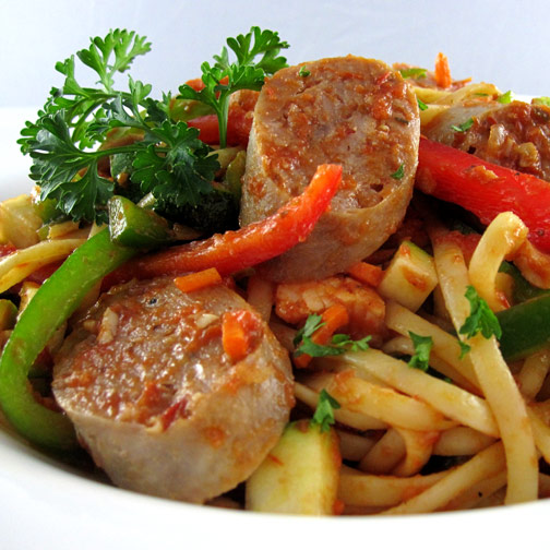 Italian Sausages and Linguine