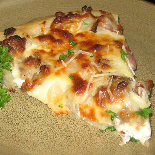 Sweet Sausage and Onion White Pizza