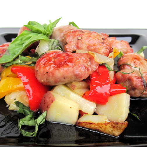 Sausage with Peppers, Potatoes and Onions