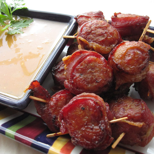 Bacon Wrapped Sausage Coins with Pineapple Dipping Sauce