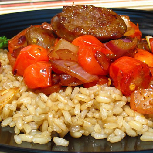 sausage, tomatoes and onions