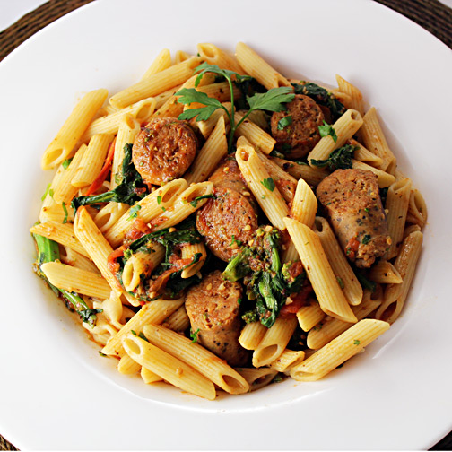 cheese and garlic chicken sausage with penne