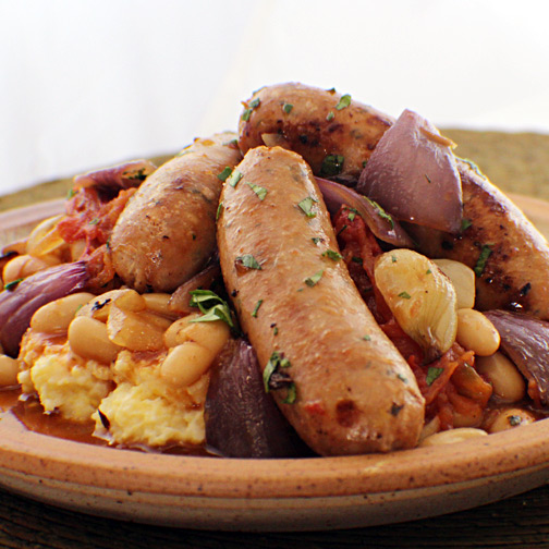 sweet chicken sausage with white beans, roasted veggies and polenta