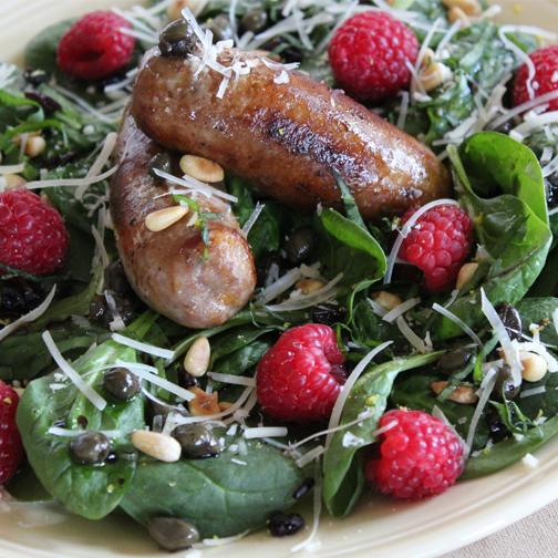 sausage and raspberry salad