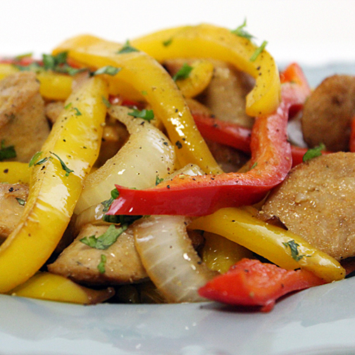 chicken sausage with bell peppers