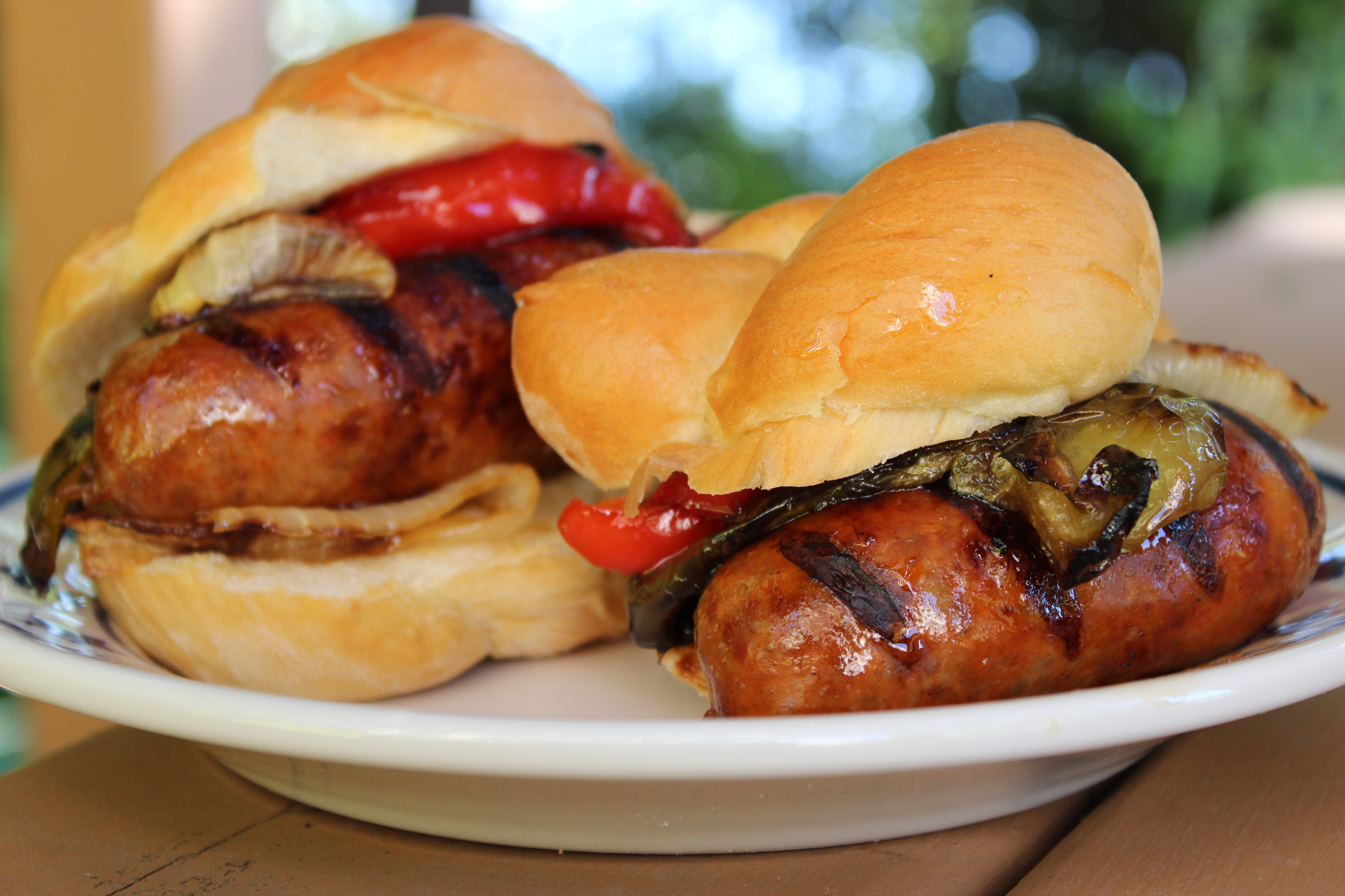 grilled Italian sausage with sweet and sour peppers and onions
