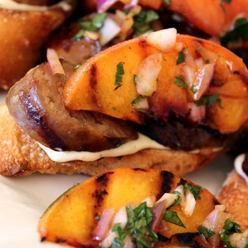 peach and sausage bruschetta
