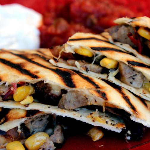 sausage and corn quesadillas