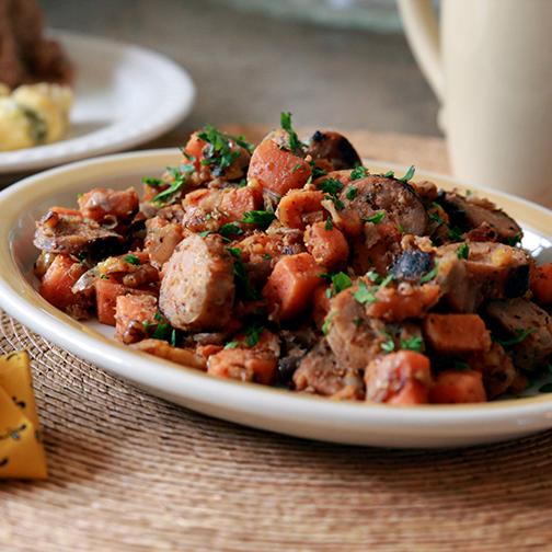 Italian sausage and sweet potato hash