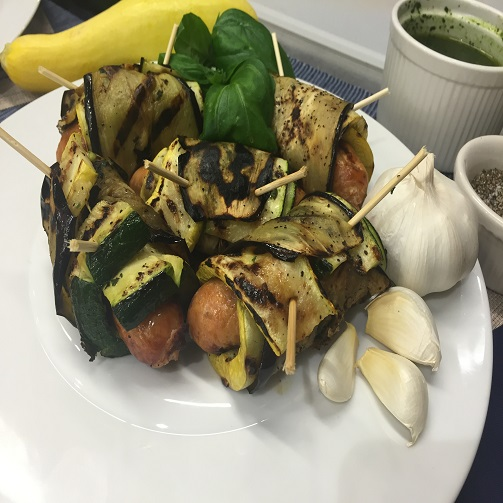 Grilled Chicken Sausage, Eggplant and Squash Rollatini