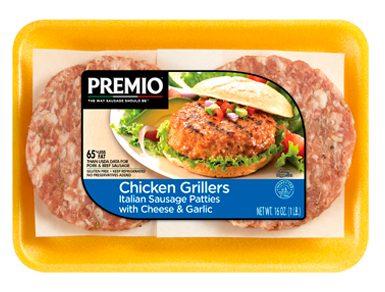 Premio Italian Chicken Sausage Griller Patties with Cheese & Garlic