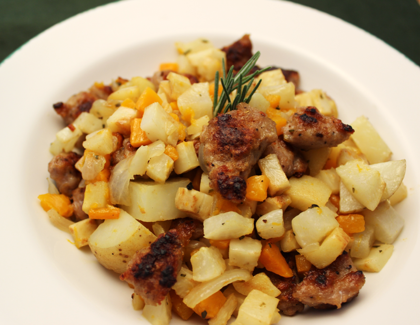 Sausage and Root Vegetable Skillet