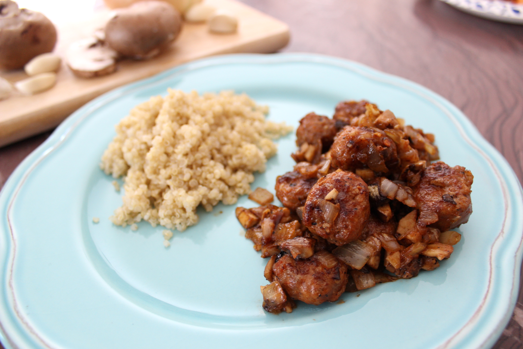 Sauteed Spicy Sausage & Mushrooms
