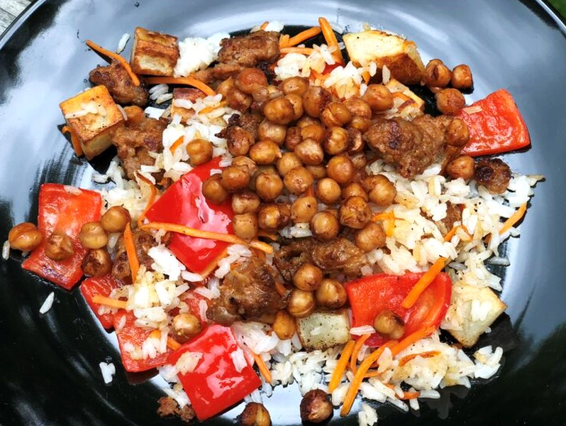Barbecue Roasted Chickpeas with Crumbled Sausage