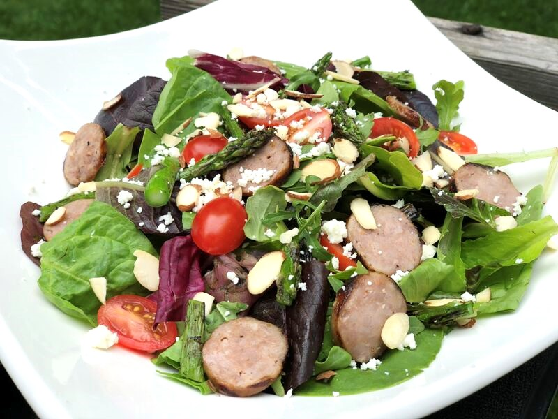 Grilled Sausage & Asparagus Salad with Feta