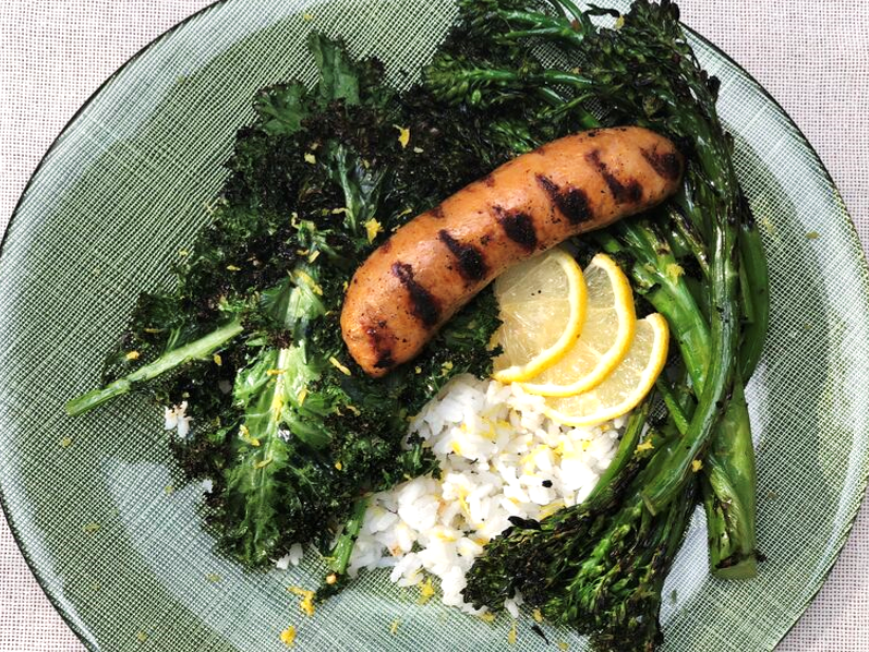 Grilled Sausage with Broccolini & Kale