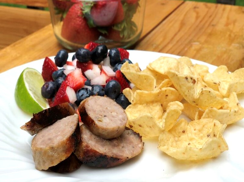 Sausage with Red, White and Blue Salsa & Chips