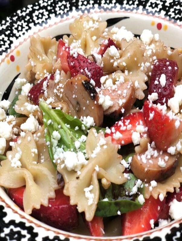 Sausage & Strawberry Balsamic Pasta Salad