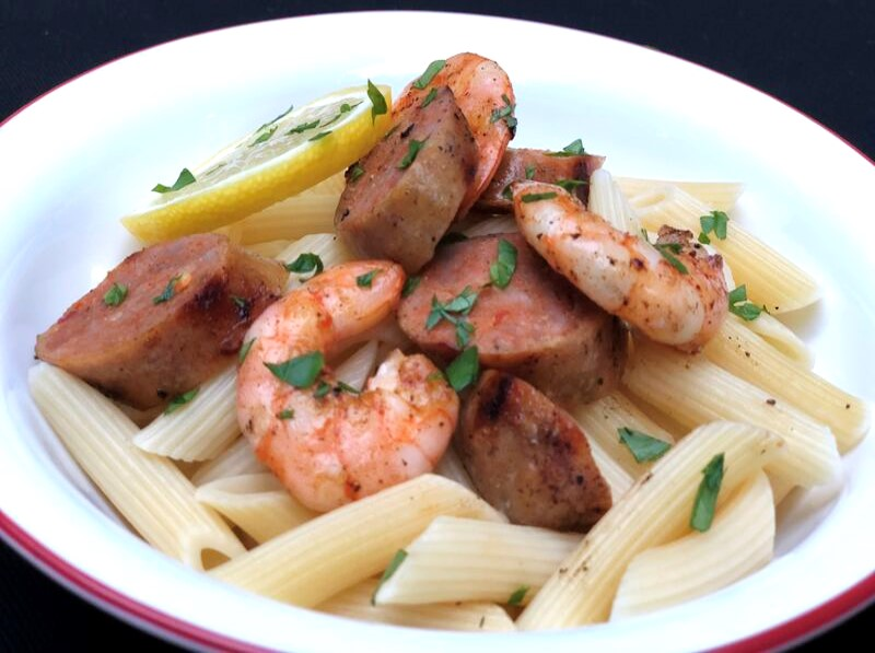 Spicy Grilled Sausage & Shrimp With Garlic & Lemon
