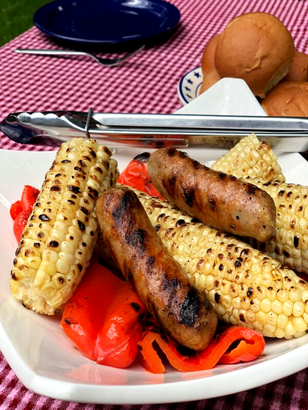 BBQ Sweet Corn with Premio Sausage & Roasted Red Peppers