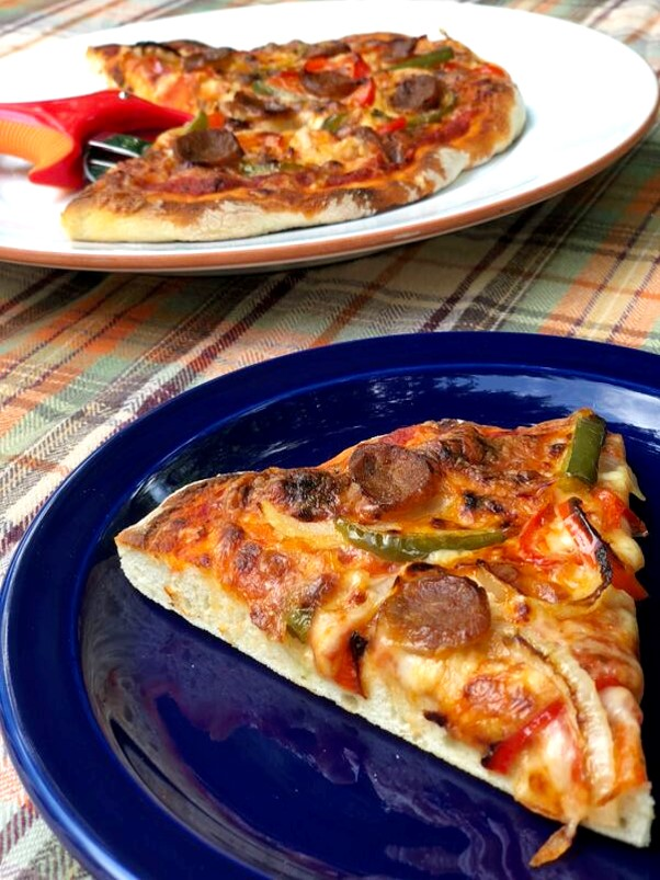Pizza with Premio Hot Italian Sausage, Peppers and Onions