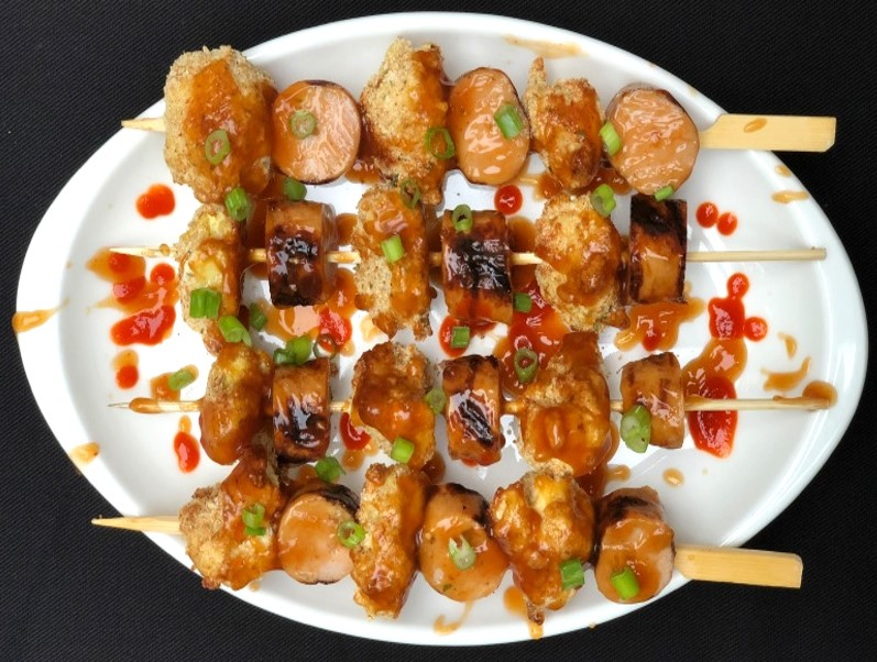 General Tso's Cauliflower & Sausage Kabobs