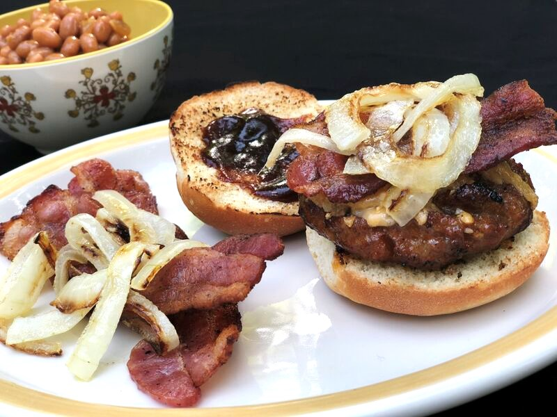 Sausage & BBQ Bacon Burger with Smoked Gouda