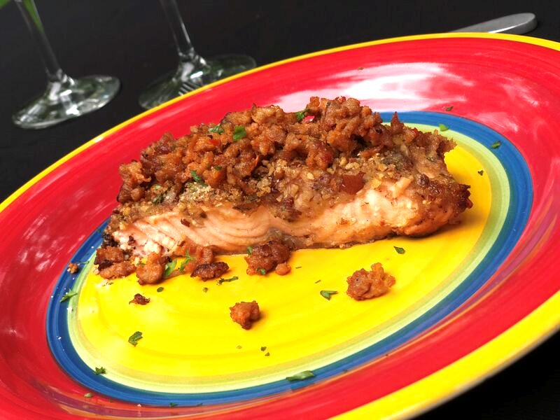 Spicy Sausage Pecan Crumbled Salmon