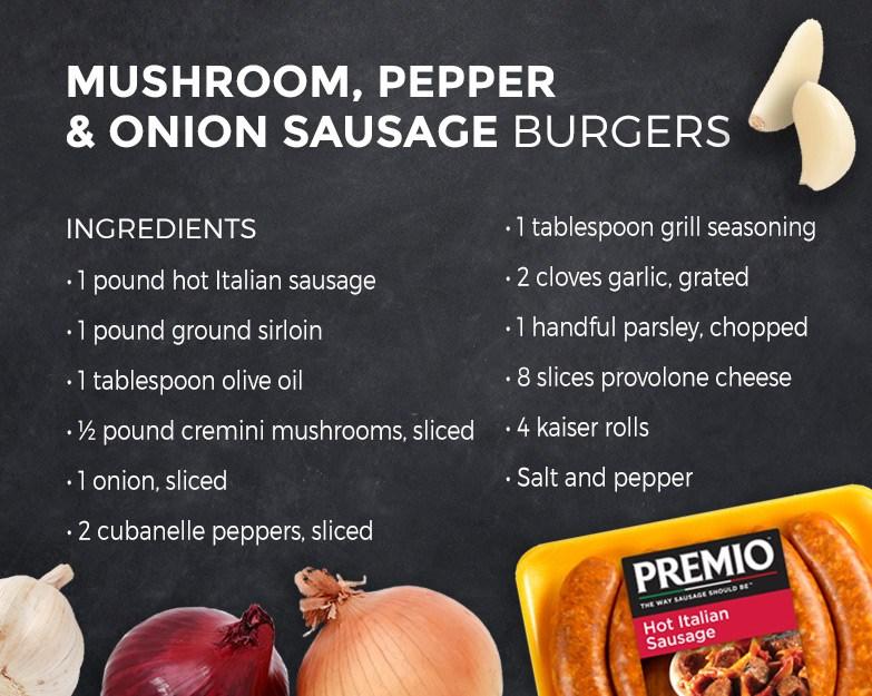 Mushroom, Pepper & Onion Sausage Burger