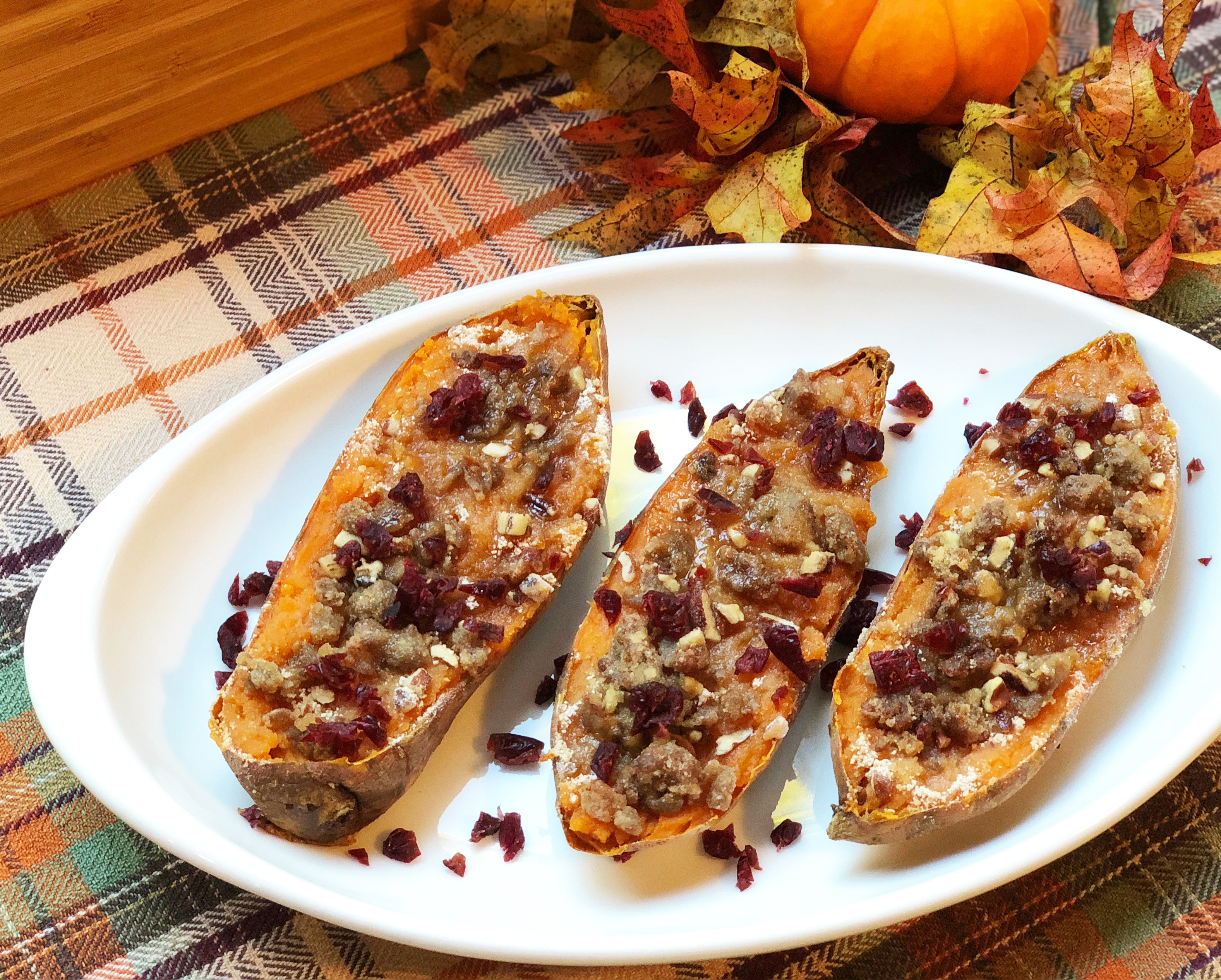 Twice Baked Sweet Potatoes Topped with Sausage