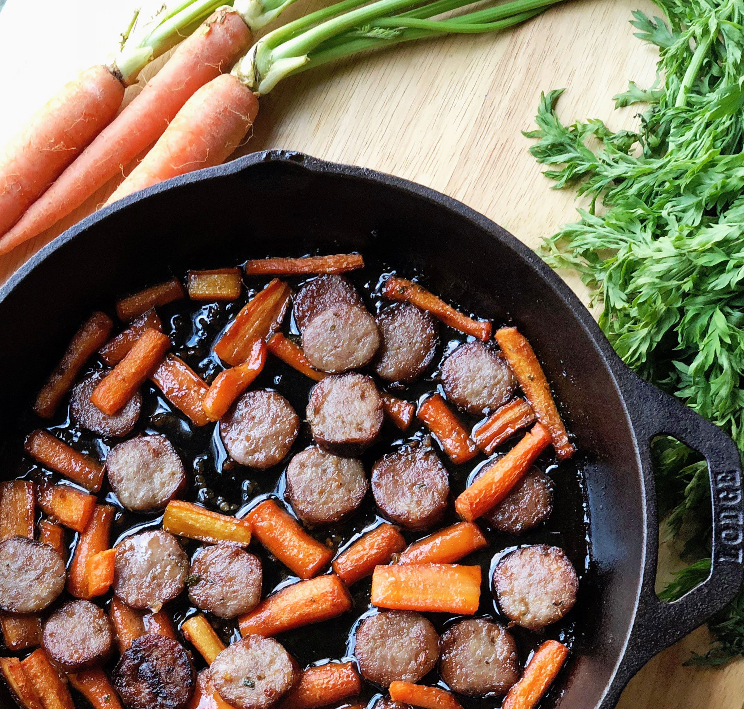 Brown Butter Garlic Honey Roasted Carrots With Sweet Premio Sausage