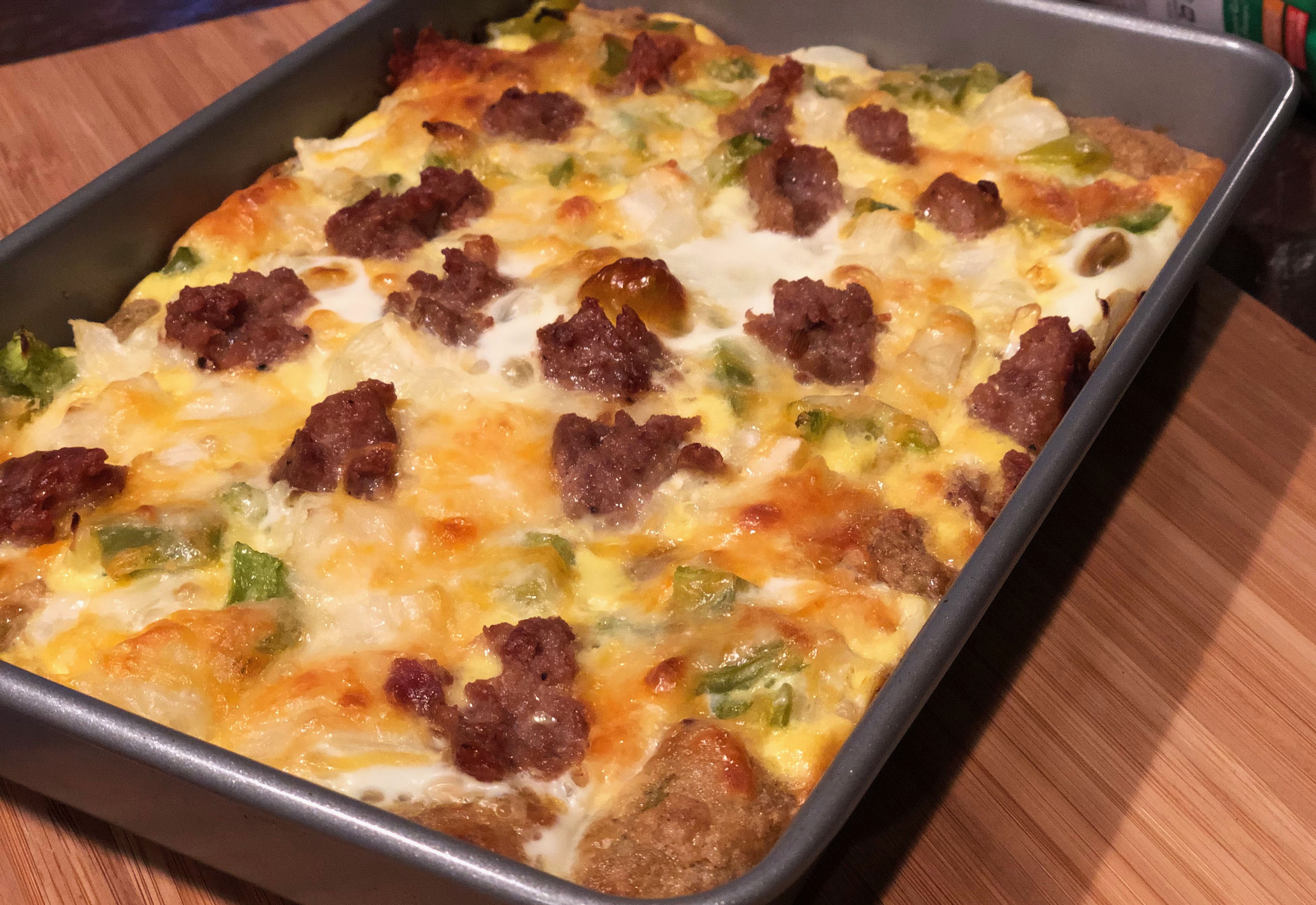 Cheesy Broccoli Veggie Tots Casserole with Sausage