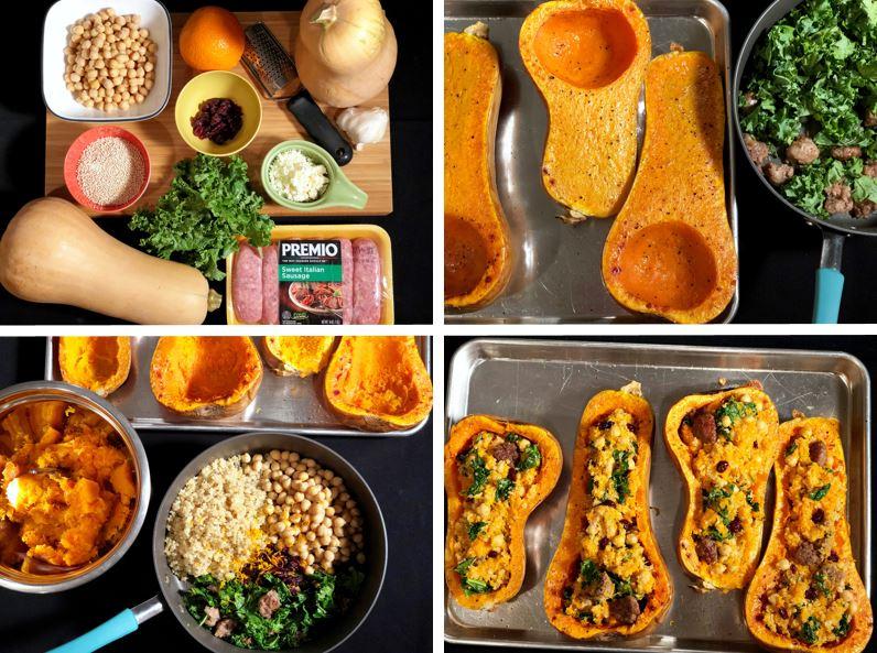 Quinoa-Stuffed Butternut Squash with Sausage Recipe Steps