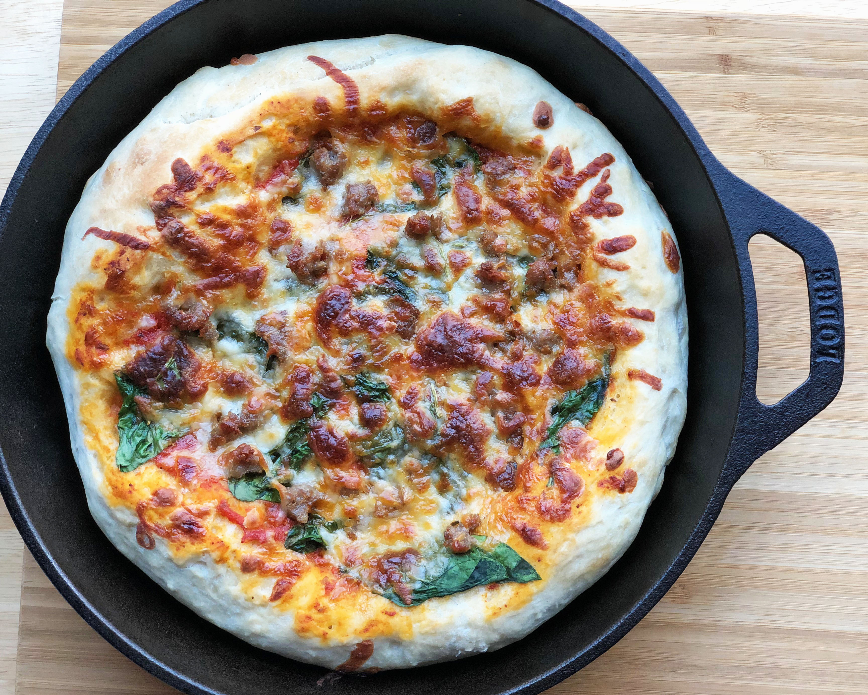 image regarding Pizza Printable called Premio Sausage and Spinach Skillet Pizza