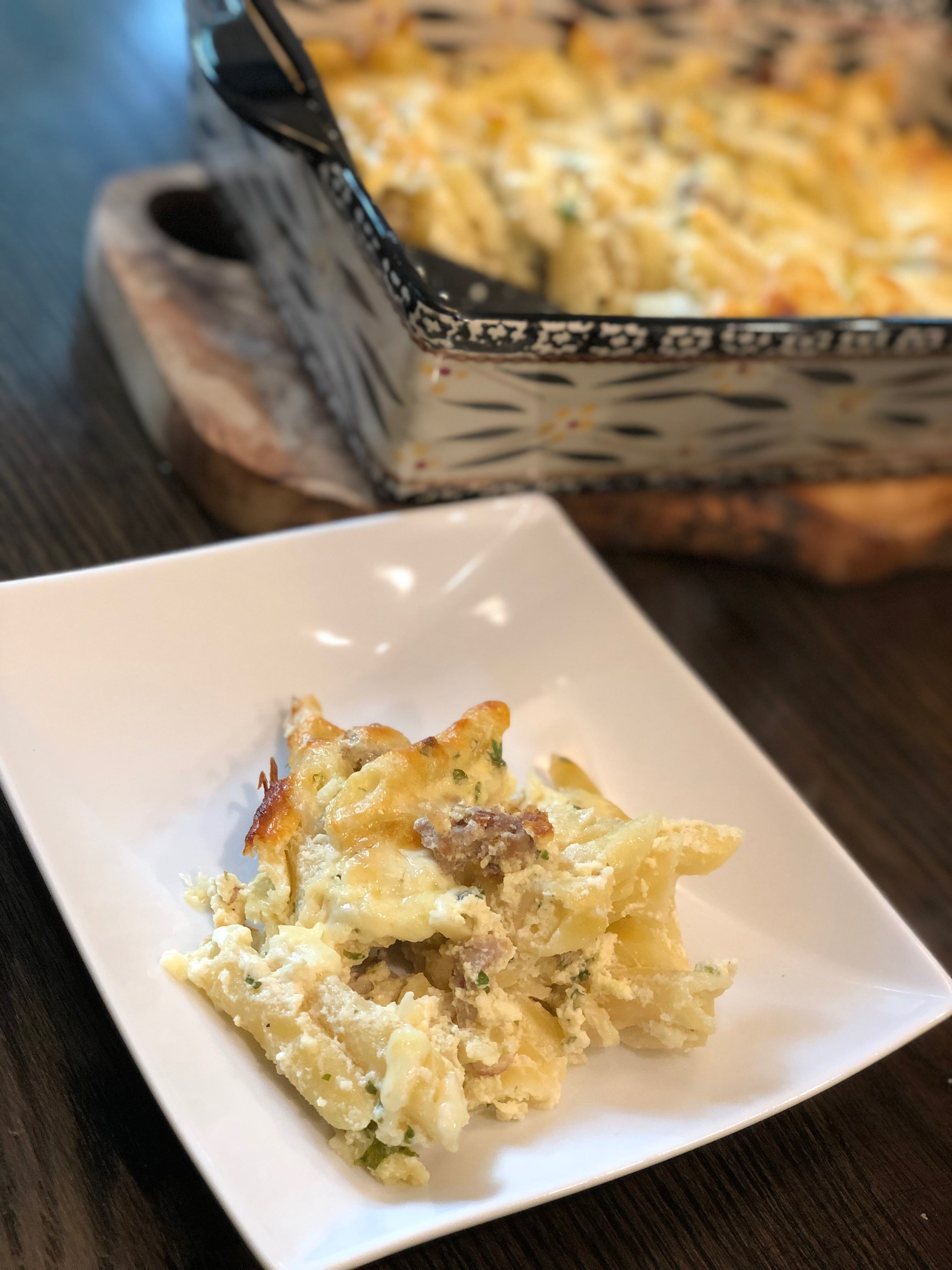 Three-Cheese Italian Sausage Alfredo Bake