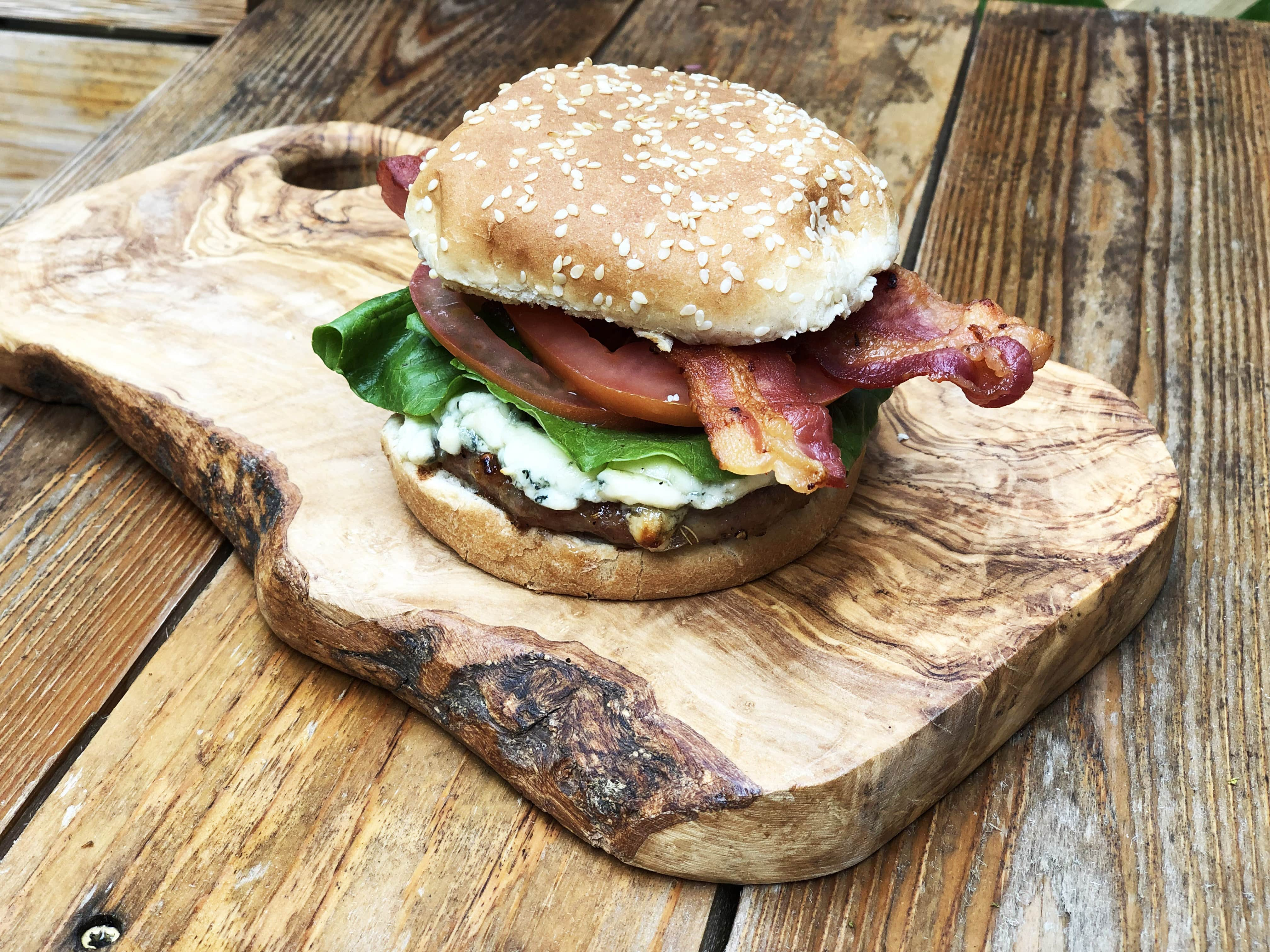 Blue Cheese Bacon and Balsamic Onion Burger