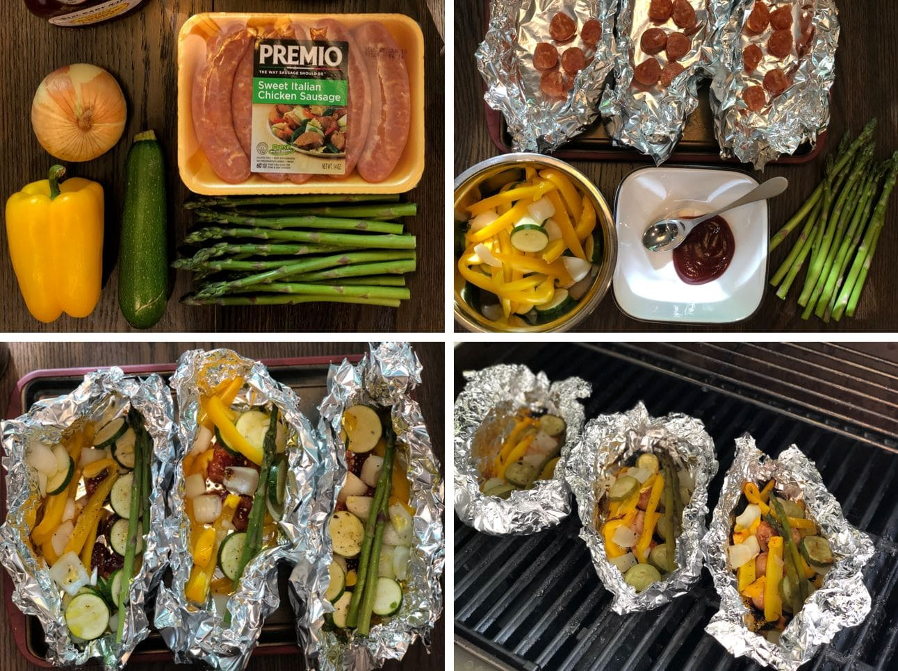Grilled Barbecue Chicken Sausage and Vegetable in Foil Step by Step Recipe