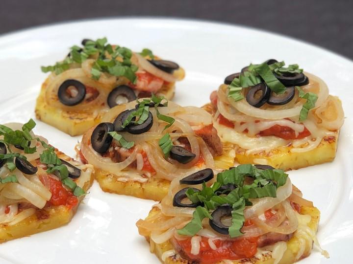 mini pineapple sausage pizzas