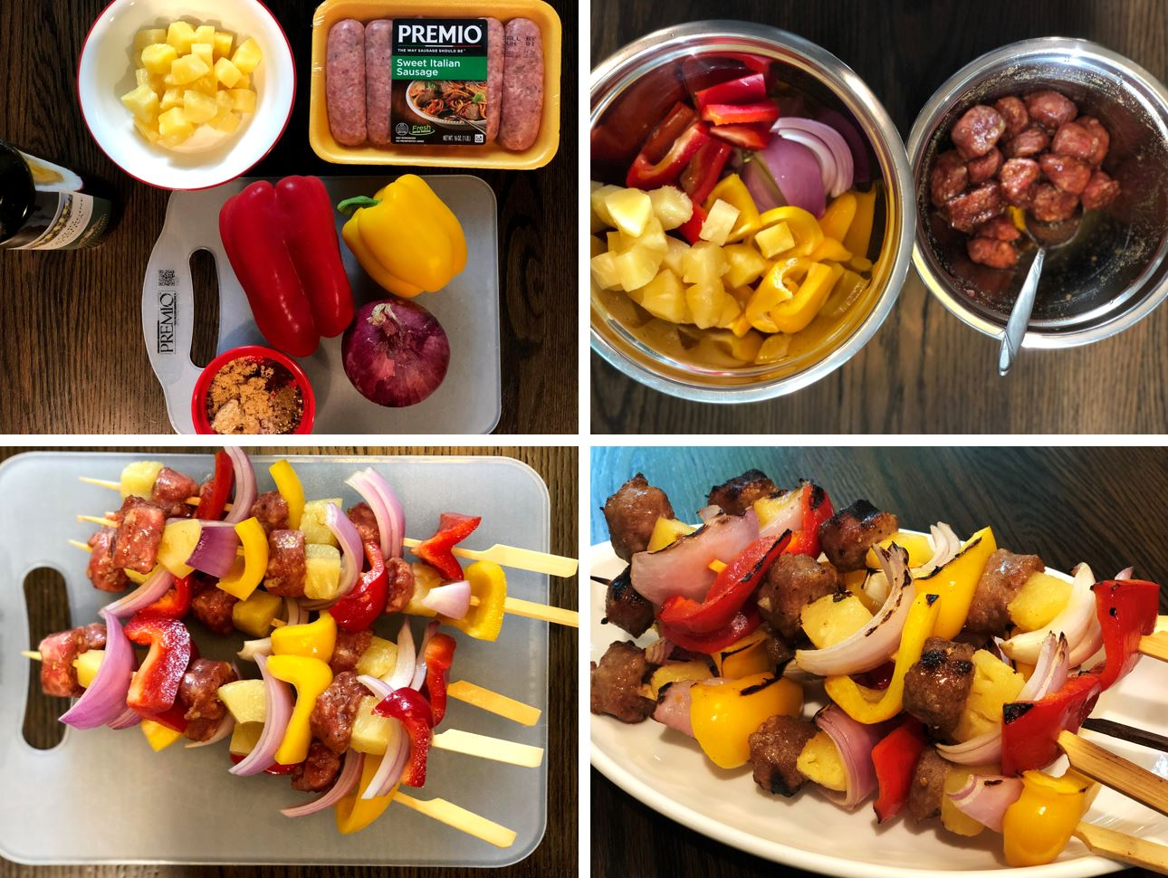 Sausage Pineapple and Red Onion Kebabs Step by Step Recipe