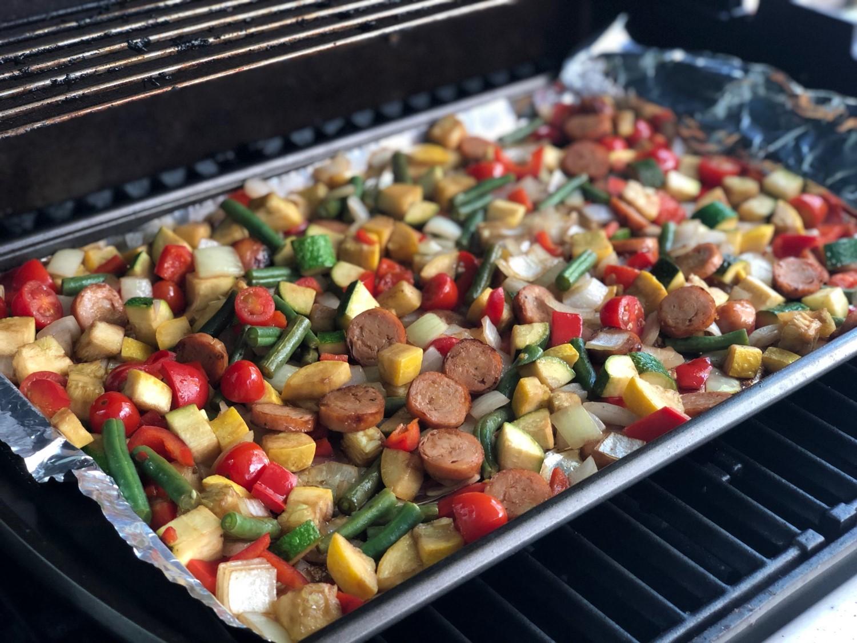 marinated summer veggies with chicken sausage