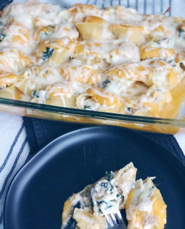 Sausage & Kale Stuffed Shells with Butternut Squash Alfredo