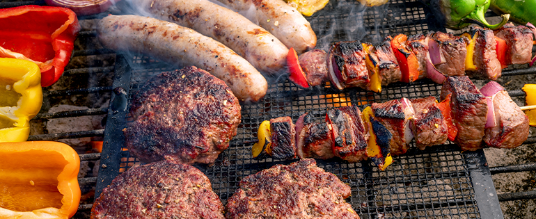 Sausage, Burgers and Kabobs on Grill