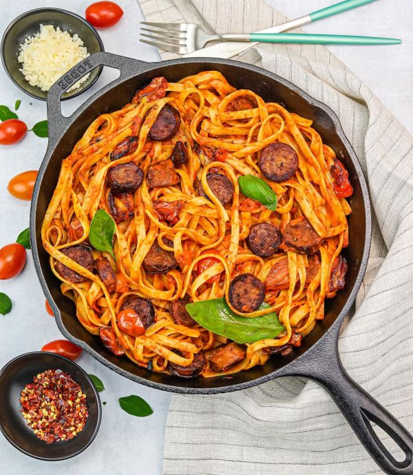 Fettuccini and Sweet Italian Chicken Sausage