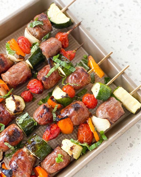 Italian sausage and veggie kebabs
