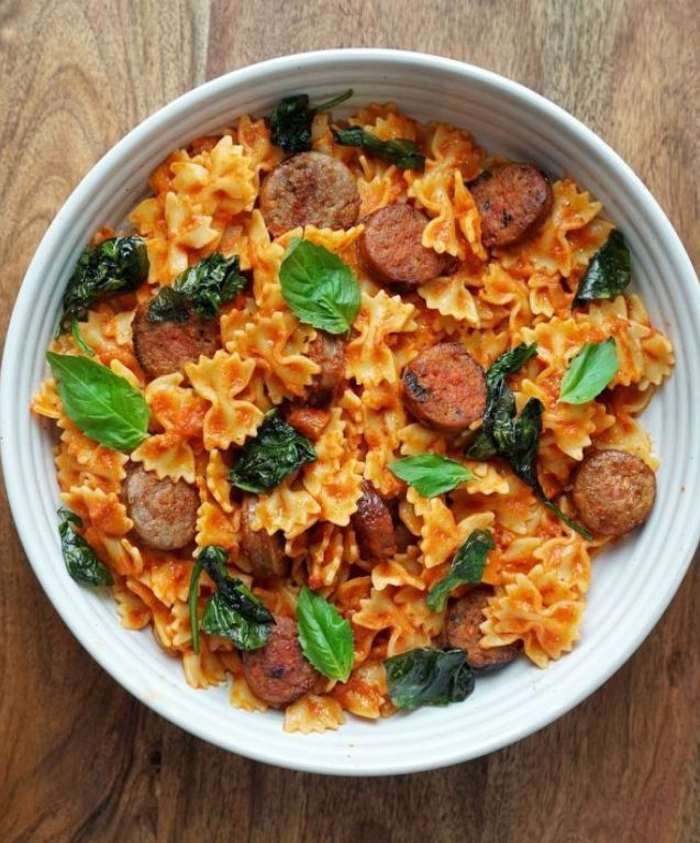 Farfalle with Vodka Sauce, Sausage, Spinach and Basil